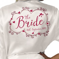 Pink Heart Sketchy Design Personalised Ivory Satin Robe. Wedding Favours For The Whole Wedding Party, Bridesmaid. Bride