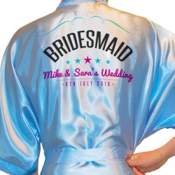 Something Different A Modern Design Personalised Ivory Satin Robe. Wedding Favours For The Whole Wedding Party, Bridesmaid. Bride