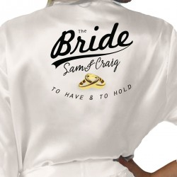 Wedding Ring Design Personalised Ivory Satin Robe. Wedding Favours For The Whole Wedding Party, Bridesmaid. Bride