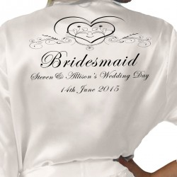 Pretty Heart Scroll Personalised Ivory Satin Robe. Wedding Favours For The Whole Wedding Party, Bridesmaid. Bride