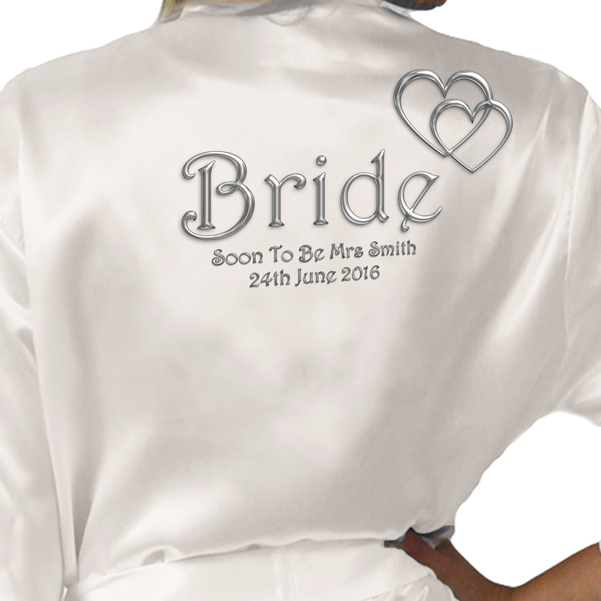 Silver Effect Hearts Personalised Ivory Satin Robe. Wedding Favours ...