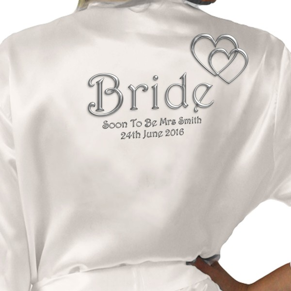 Silver Effect Hearts Personalised Ivory Satin Robe. Wedding Favours For The Whole Wedding Party, Bridesmaid. Bride