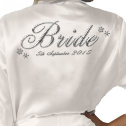 Winter Wedding Snow Design Personalised Ivory Satin Robe. Wedding Favours For The Whole Wedding Party, Bridesmaid. Bride