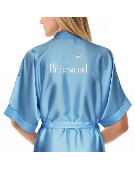 Personalised Satin Robe In Colours, Silver print Butterfly Design