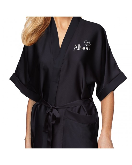 Personalised Black Satin Robe For Wedding Party Bride, Bridesmaid, Flower Girl