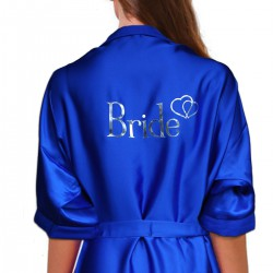 Personalised Royal Blue Satin Robe For Wedding Party Bride, Bridesmaid, Flower Girl