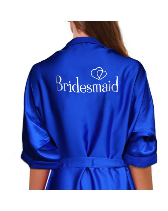 enjoy discount price best sneakers unbeatable price Personalised Royal Blue Satin Robe For Wedding Party Bride, Bridesmaid,  Flower Girl