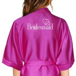 Personalised Hot Pink Satin Robe For Wedding Party Bride, Bridesmaid, Flower Girl
