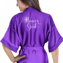 Personalised Colour satin robe. Fancy scrip font silver print.