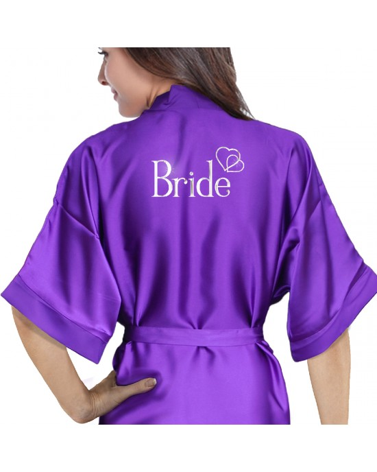 Wedding personalised satin robe in purple. Hearts design silver For you Wedding Morning Photos.