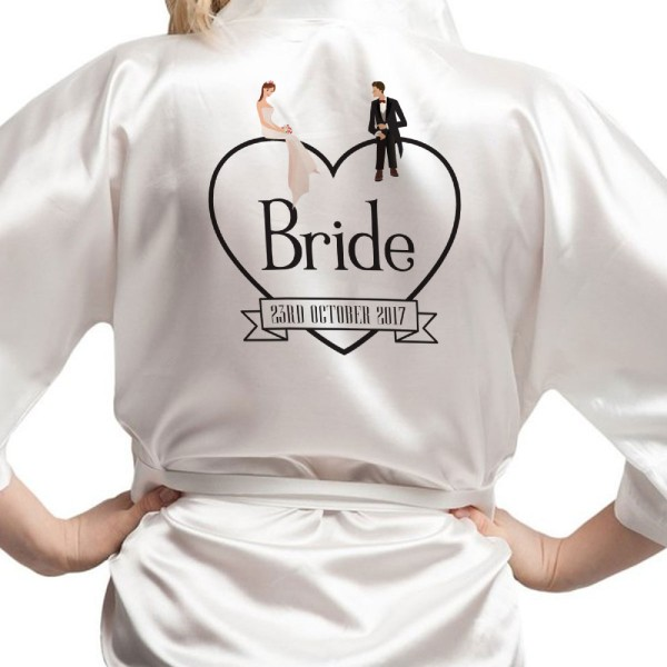 Personalised Satin Robe, Black heart with bride & groom sat on top. for bride, bridesmaids