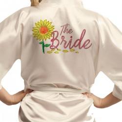Sun flower design satin dressing gown Kimono