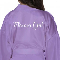Children's / Kids Personalised satin robe. Lilac to match the adult sizes.
