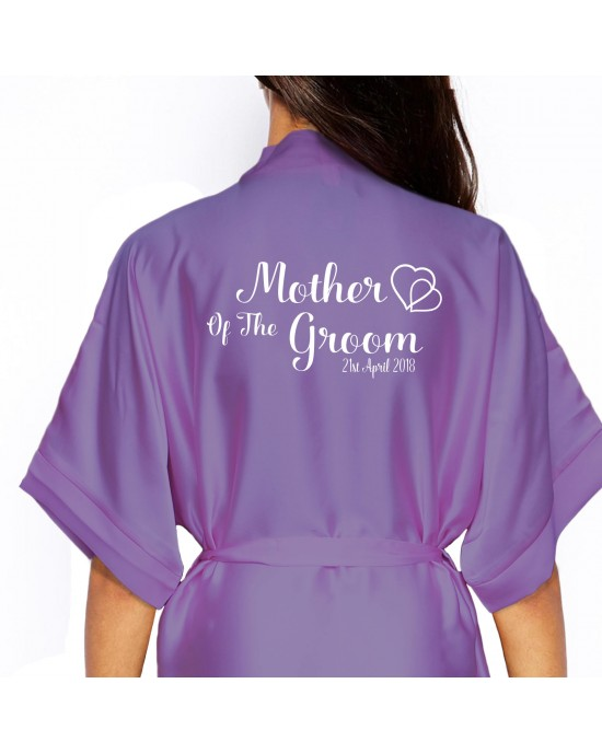 Personalised Lilac Satin Robe For Wedding Party Bride, Bridesmaid, Flower Girl sizes available