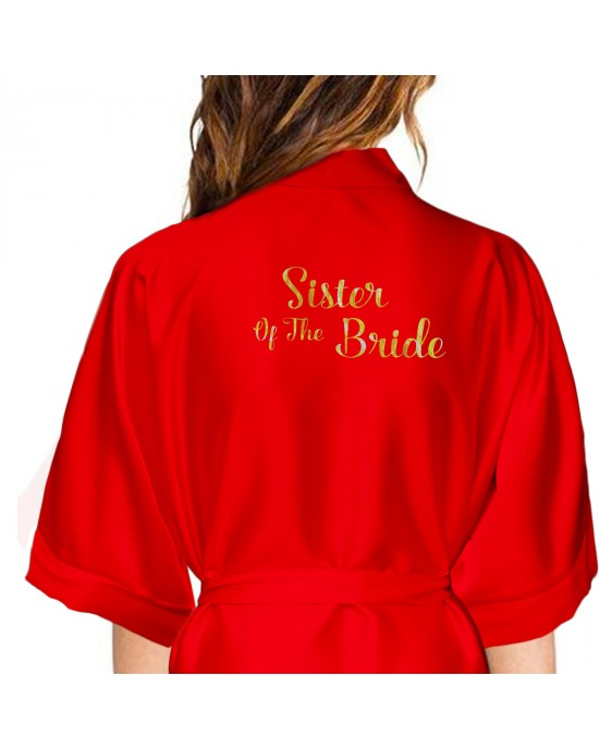 Personalised Red Satin Robe Gold Effect Print For Wedding Party Bride, Bridesmaid, Bride