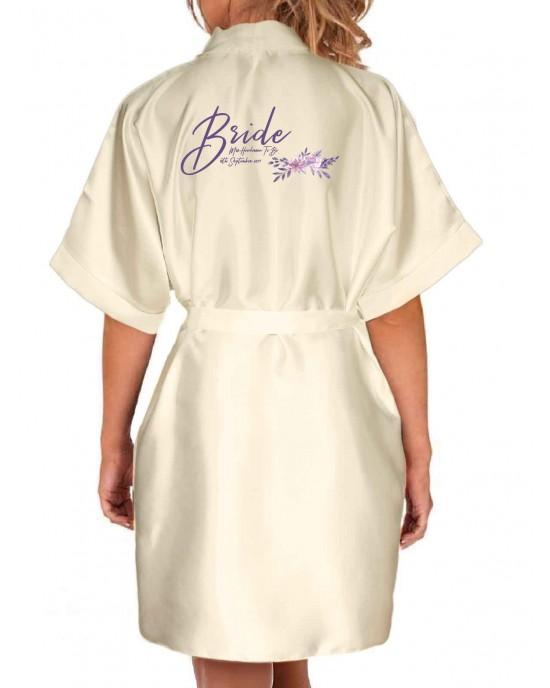 f50467885 Personalised Elegant Satin Kimono Robe For All The Wedding Party. Pretty  Floral Design