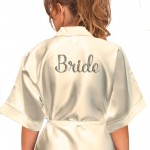 Personalised Red Satin Robe Silver Effect Print For Wedding Party Bride, Bridesmaid, Flower Girl sizes available