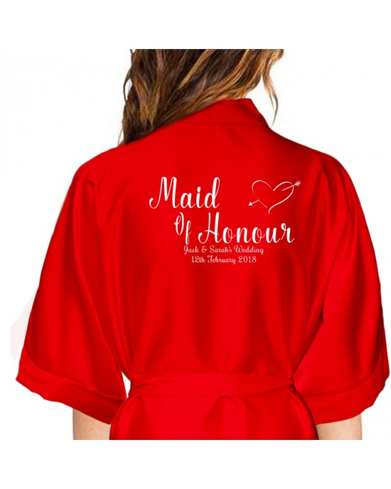 Personalised Red Satin With White Print Robe For Wedding Party Bride, Bridesmaid