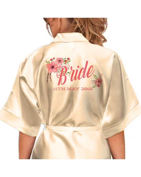 Adult Satin robe. Floral Bouquet Personalised Satin Robe,