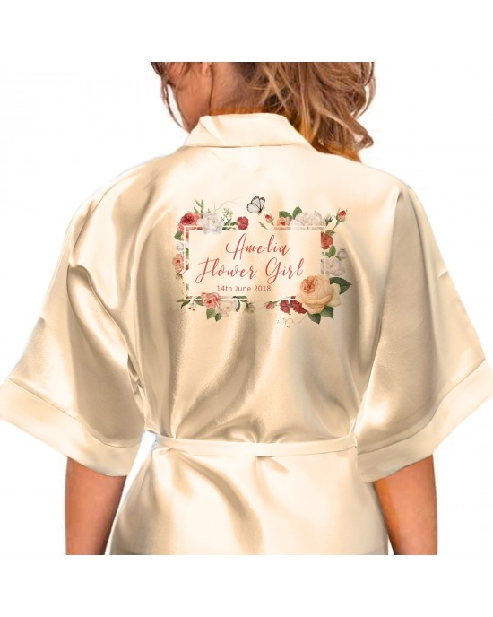 Personalised Elegant Satin Robe For All The Wedding Party Bride, Bridesmaid, Flower Girl Flowers/ Butterfly Boarder
