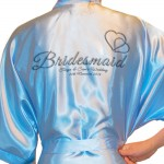 Personalised Satin Kimono /Robe Hearts Design 1. Bride, Bridesmaid, Maid of Honour, Mother of the Bride / Groom (Silver Effect)
