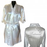 Silver Hearts Design Personalised Ivory Satin Robe. Wedding Favours For The Whole Wedding Party, Bridesmaid. Bride