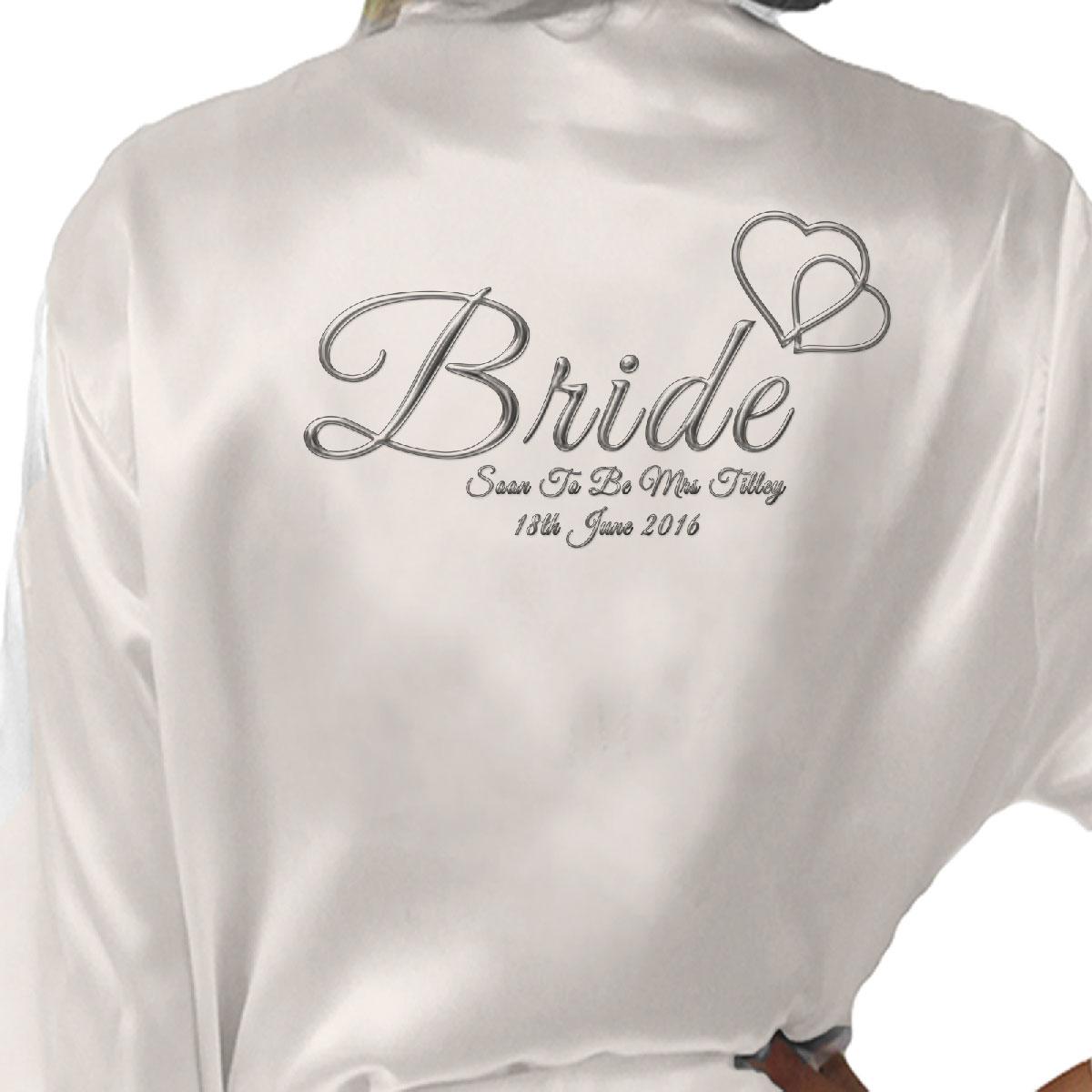 667ed527e2 Personalised Satin Kimono  Robe Hearts Design 1. Bride