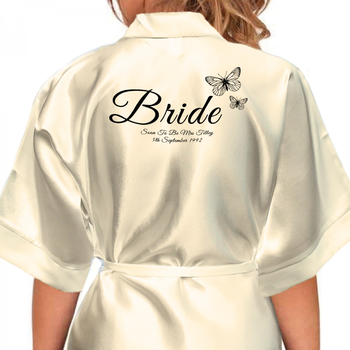 Butterfly\'s Design Black Print Personalised Satin Robe. Colours ...