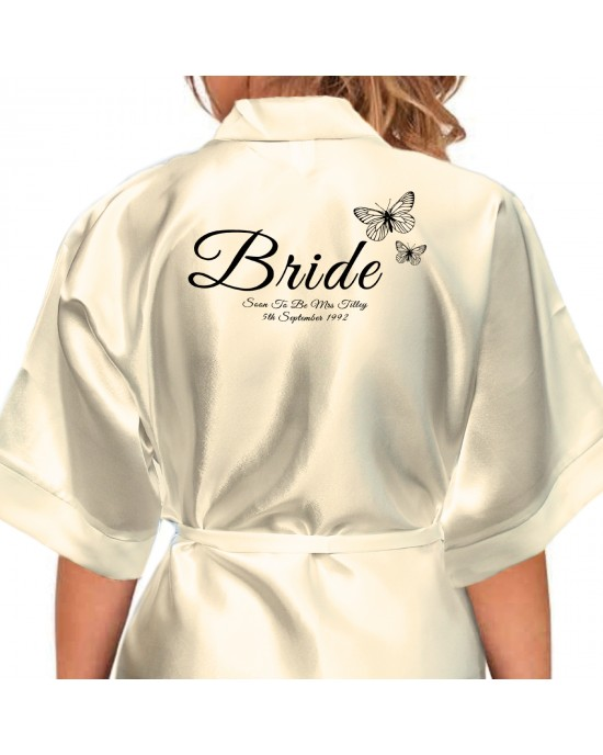 95b08055d9 Butterfly s Design Black Print Personalised Satin Robe. Colours ...