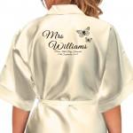Butterfly's Design Black Print Personalised Satin Robe. Colours Available. Wedding Favours For The Whole Wedding Party, Bridesmaid. Bride