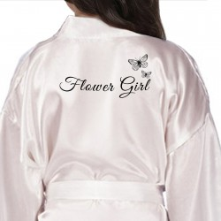 Children's / Kids Personalised satin robe. In Colours with the butterfly design to match the adult robe.
