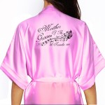 Beautiful Effect Butterfly Personalised Satin Robe In All Colours. Wedding Favours For The Whole Wedding Party, Bridesmaid. Bride