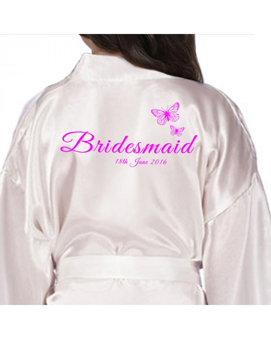 Children's / Kids Personalised satin robe. Beautiful Butterflies Personalised Ivory Satin Robe. Printed In Pink