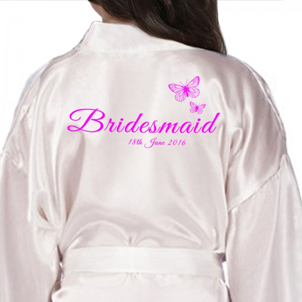 Children's / Kids Personalised satin robe. Beautiful Butterflies Personalised Ivory Satin Robe. Printed In Pink
