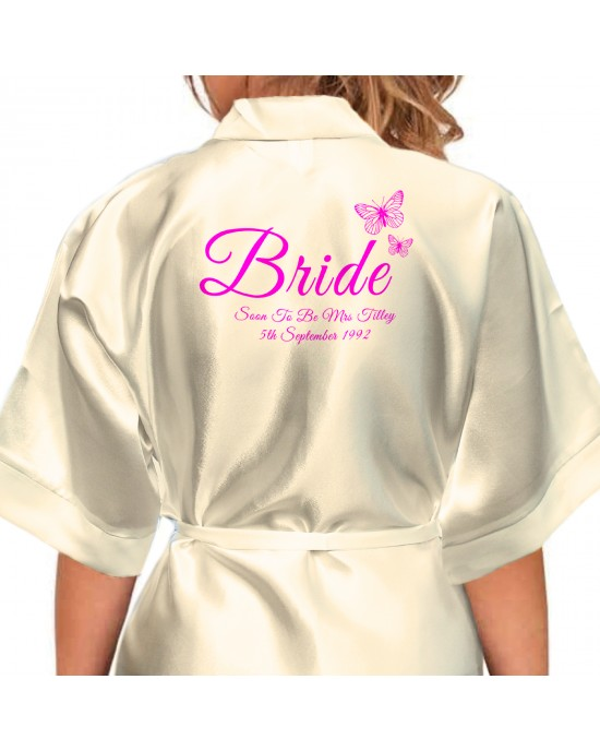 e875911cca Beautiful Butterflies Personalised Ivory Satin Robe printed in a nice shade  of pink. Wedding Favours For The Whole Wedding Party