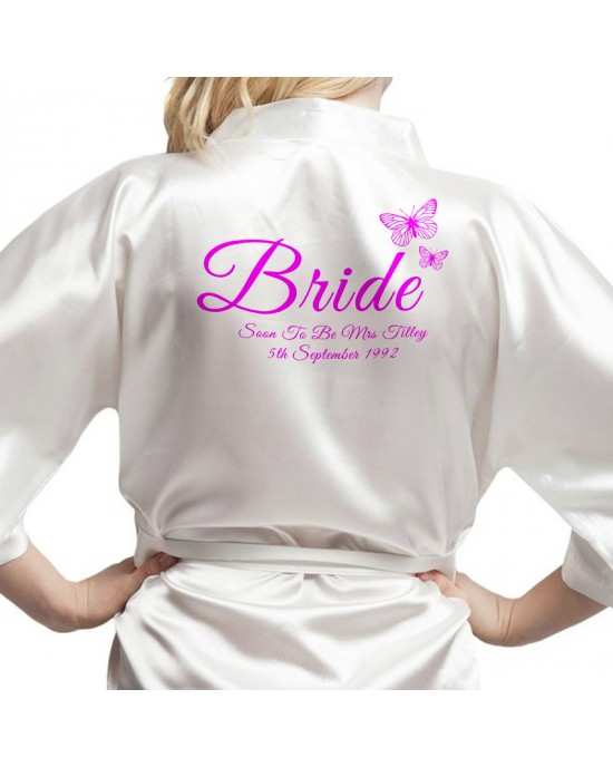 Beautiful Butterflies Personalised Ivory Satin Robe. Printed in a nice shade of pink. Wedding Favours For The Whole Wedding Party, Bridesmaid. Bride