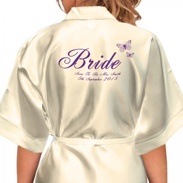 Beautiful Cadburys Purple Butterflies Personalised Ivory Satin Robe. Wedding Favours For The Whole Wedding Party, Bridesmaid. Bride