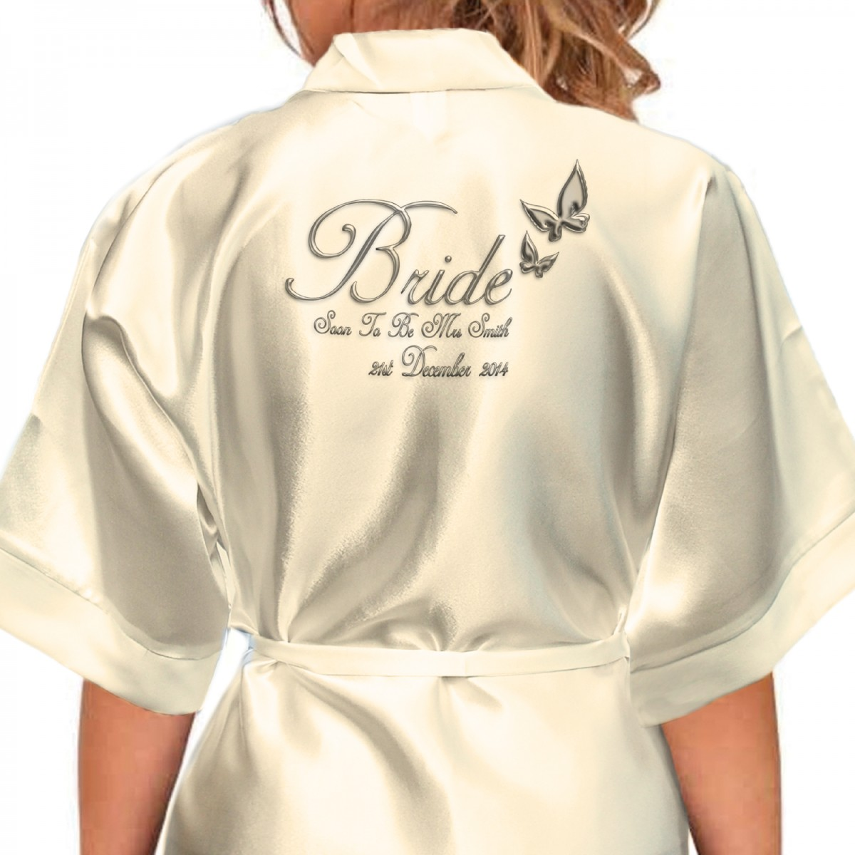 Beautiful Silver Effect Butterfly Personalised Ivory Satin Robe ...