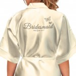 Beautiful Silver Effect Butterfly Personalised Ivory Satin Robe. Printed with any title  Bridesmaid. Bride, Flower Girl