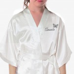 Children's / Kids Ivory Personalised Satin robe. Silver Effect Butterfly's. For your little flower girls or bridesmaids.