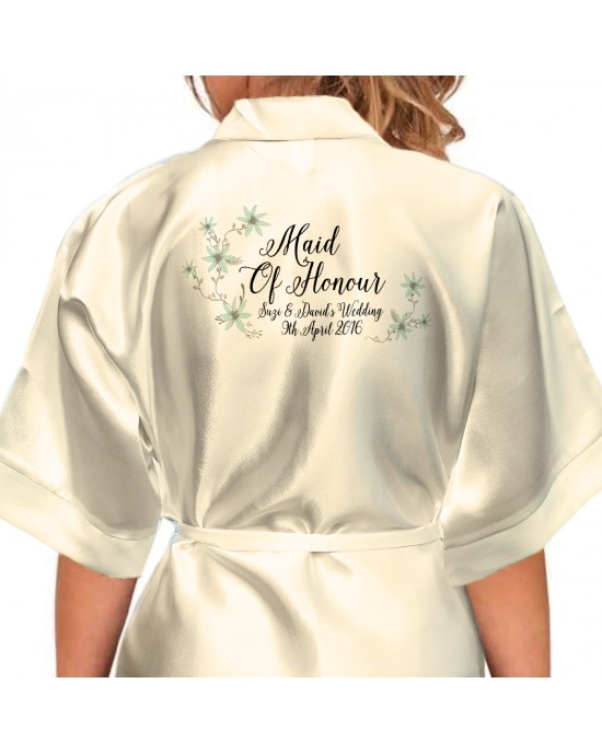 Beautiful Daisy floral Personalised Ivory Satin Robe. Wedding Favours For The Whole Wedding Party, Bridesmaid. Bride