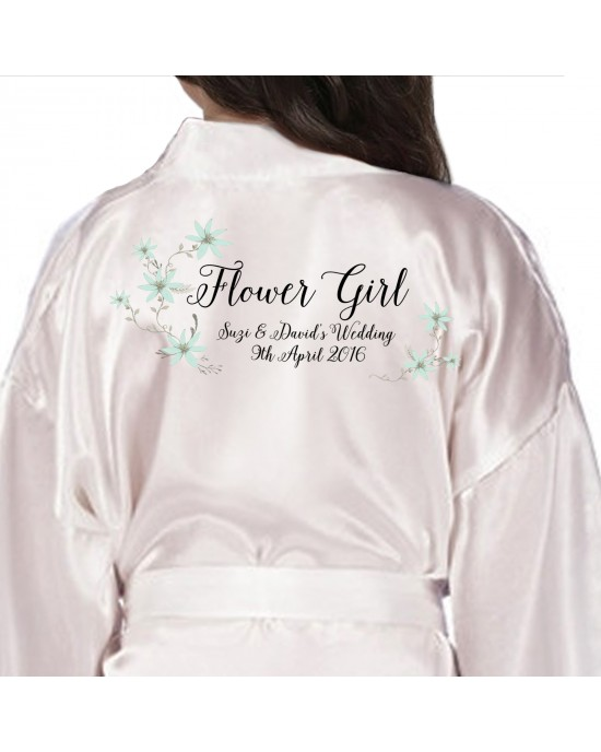 Children's / Kids Personalised satin robe. Beautiful Daisy floral Personalised Ivory Satin Robe.