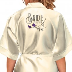 Beautiful Silver Effect Roses Personalised Satin Robe. Wedding Kimono's For The Whole Wedding Party, Bridesmaid. Bride