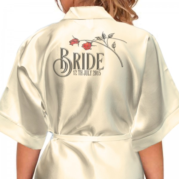 Beautiful Red & Silver Effect Roses Personalised Satin Robe. Wedding Morning Robes For The Whole Wedding Party, Bridesmaid. Bride