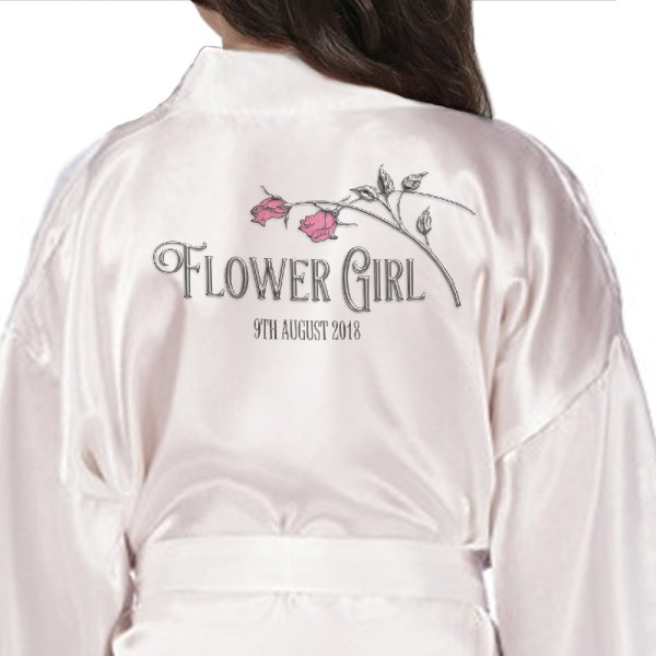 Children's / Kids Ivory Personalised Satin robe. Silver Effect Roses to match the adults For your little flower girls or bridesmaids.