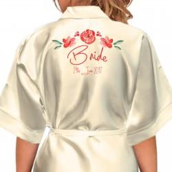 Bride, Flower Girl, Bridesmaid Satin Robe. Pretty Water Colour Flowers Design.
