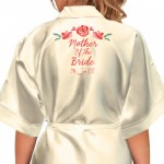Bride, Flower Girl, Bridesmaid Satin Robe. Pretty Water Colour Flowers Design.