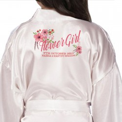 Children's Flower Girl robe. Floral Bouquet Personalised Satin Robe,