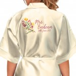 Colourful Floral Design Personalised Ivory Satin Robe. Wedding Favours For The Whole Wedding Party, Bridesmaid. Bride