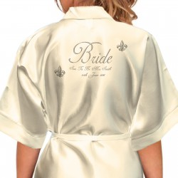 Fleur-de-lis Design Personalised Ivory Satin Robe. Wedding Favours For The Whole Wedding Party, Bridesmaid. Bride